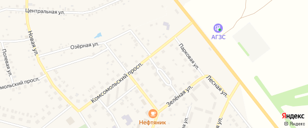Молодежный переулок на карте деревни Редькино с номерами домов