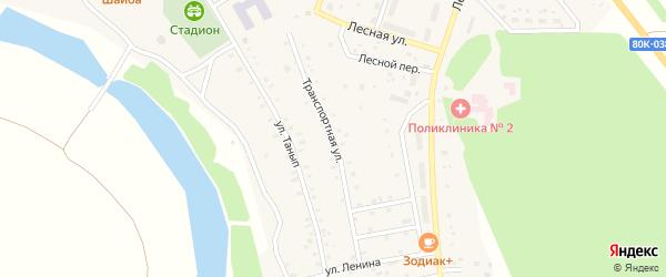 Транспортная улица на карте села Куяново с номерами домов