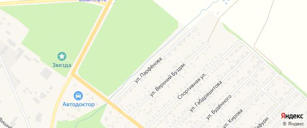 Улица Парфенова на карте села Буздяк с номерами домов