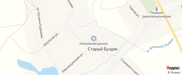 Школьная улица на карте села Старого Буздяка с номерами домов