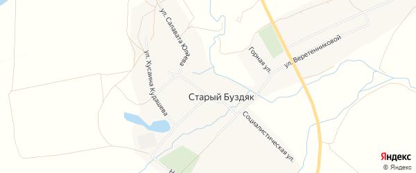 Карта села Старого Буздяка в Башкортостане с улицами и номерами домов