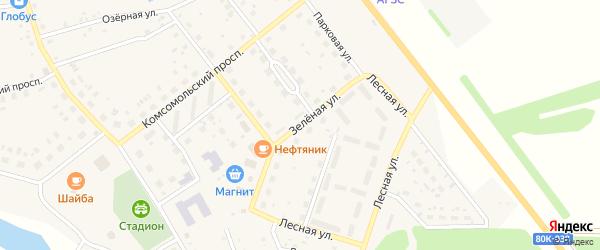 Зеленая улица на карте села Куяново с номерами домов