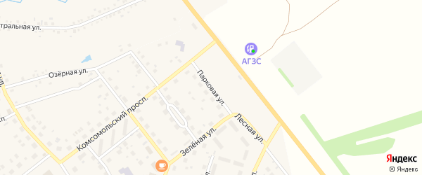 Парковая улица на карте села Куяново с номерами домов