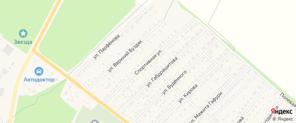 Спортивная улица на карте села Буздяк с номерами домов