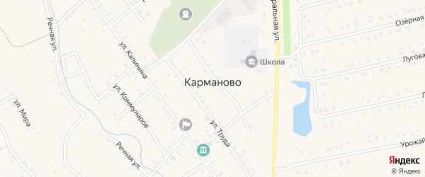Гаражная улица на карте села Карманово с номерами домов