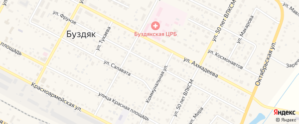 Улица Фрунзе на карте села Буздяк с номерами домов