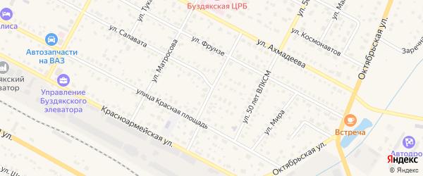 Коммунальная улица на карте села Буздяк с номерами домов