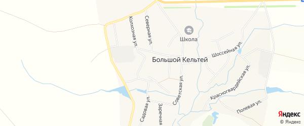 Карта деревни Большого Кельтея в Башкортостане с улицами и номерами домов