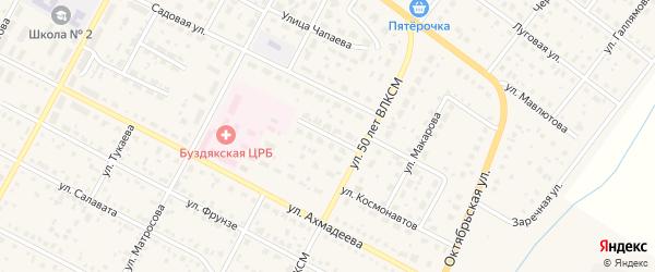 Северный переулок на карте села Буздяк с номерами домов