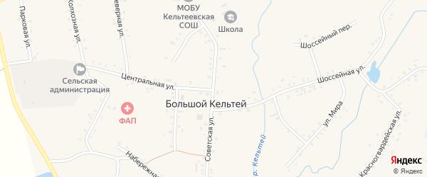 Советская улица на карте деревни Большого Кельтея с номерами домов