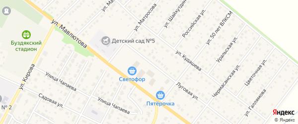 Луговая улица на карте села Буздяк с номерами домов