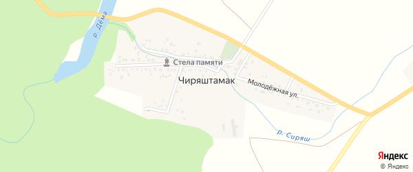 Заречная улица на карте деревни Чиряштамака с номерами домов