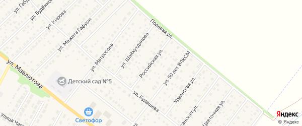 Российская улица на карте села Буздяк с номерами домов