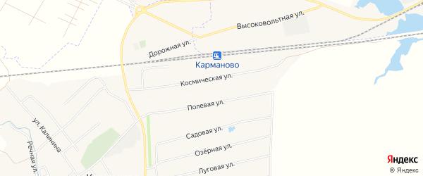 Карта деревни Станции Карманово в Башкортостане с улицами и номерами домов