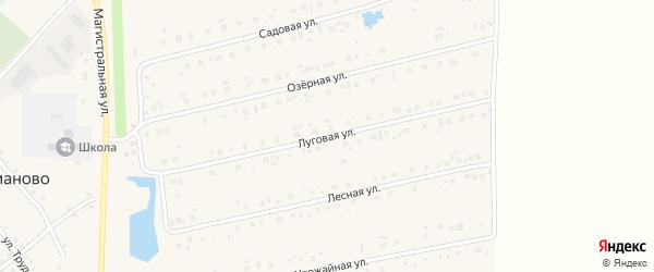 Луговая улица на карте села Карманово с номерами домов