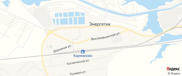 Карта села Энергетика города Нефтекамска в Башкортостане с улицами и номерами домов