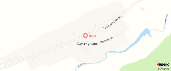 Центральная улица на карте деревни Саиткулово с номерами домов
