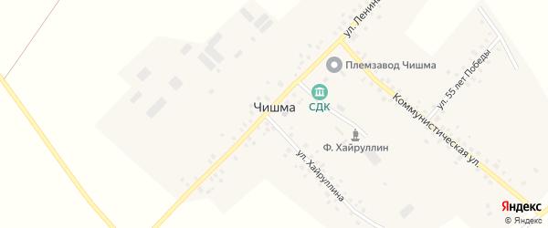 Улица Хайруллина на карте села Чишмы с номерами домов