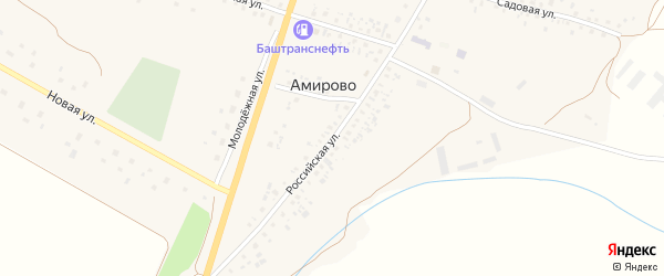 Российская улица на карте села Амирово с номерами домов