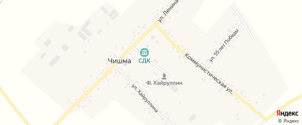 Молодежная улица на карте села Чишмы с номерами домов
