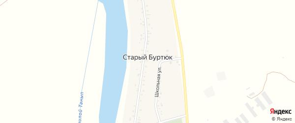 Школьная улица на карте деревни Старого Буртюка с номерами домов