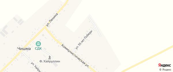 Улица 55 лет Победы на карте села Чишмы с номерами домов