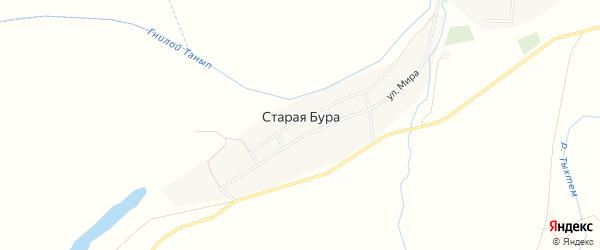Карта деревни Старой Буры в Башкортостане с улицами и номерами домов