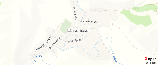 Карта села Шатмантамака в Башкортостане с улицами и номерами домов