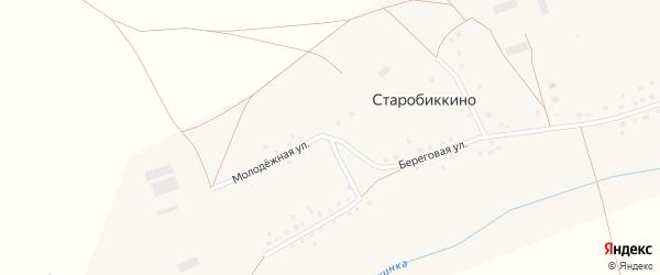 Молодежная улица на карте села Старобиккино с номерами домов