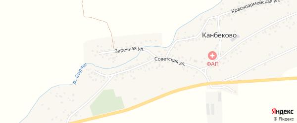 Советская улица на карте села Канбеково с номерами домов