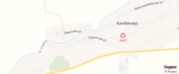 Заречная улица на карте села Канбеково с номерами домов