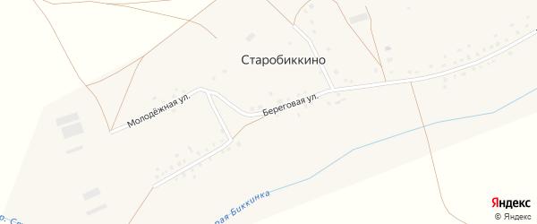 Береговая улица на карте села Старобиккино с номерами домов