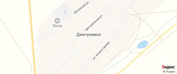 Школьная улица на карте деревни Дмитриевки с номерами домов