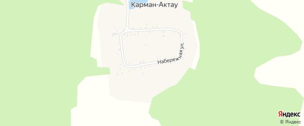 Набережная улица на карте села Кармана-Актау с номерами домов