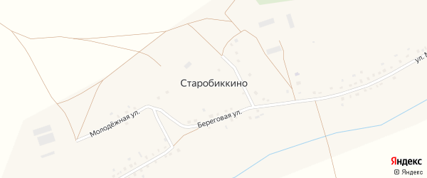 Улица Мира на карте села Старобиккино с номерами домов