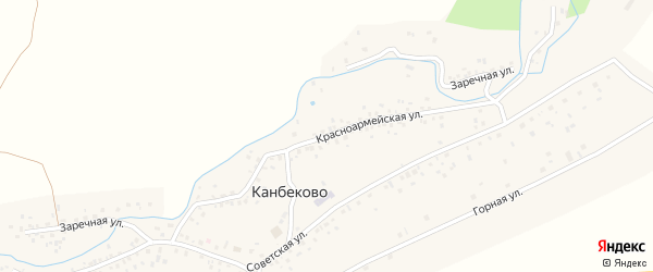 Красноармейская улица на карте села Канбеково с номерами домов