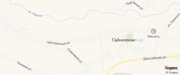 Центральная улица на карте села Гайниямака с номерами домов