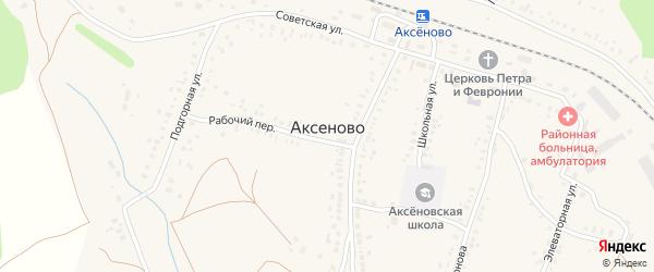 Территория Свеклопункта на карте села Аксеново с номерами домов