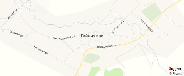 Карта села Гайниямака в Башкортостане с улицами и номерами домов