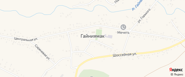 Подгорная улица на карте села Гайниямака с номерами домов