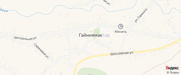 Улица Горького на карте села Гайниямака с номерами домов