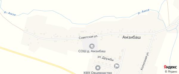 Советская улица на карте деревни Амзибаша с номерами домов