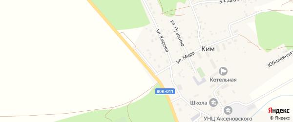 Шоссейная улица на карте села Кима с номерами домов