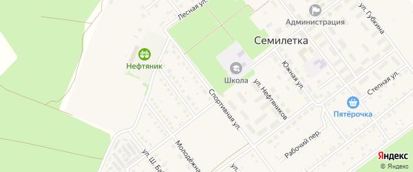 Спортивная улица на карте села Семилетки с номерами домов