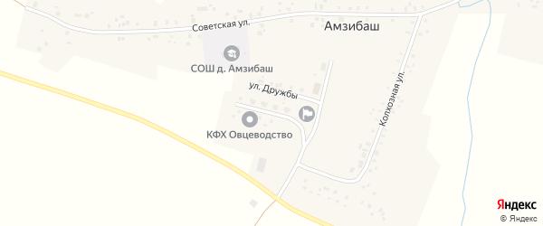 Комсомольская улица на карте деревни Амзибаша с номерами домов