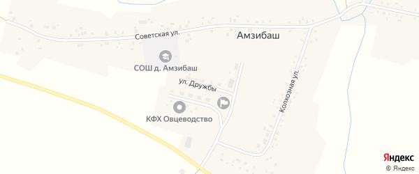 Улица Дружбы на карте деревни Амзибаша с номерами домов