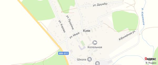 Улица Мира на карте села Кима с номерами домов