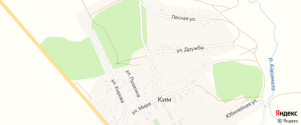 Центральная улица на карте села Кима с номерами домов
