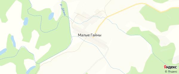 Карта деревни Малые Гайны в Башкортостане с улицами и номерами домов