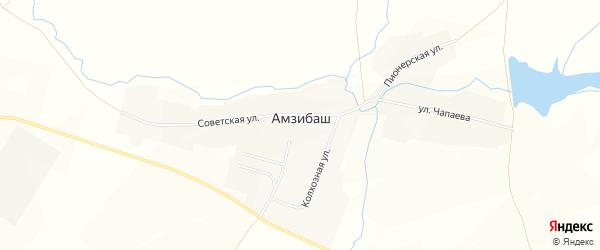 Карта деревни Амзибаша в Башкортостане с улицами и номерами домов